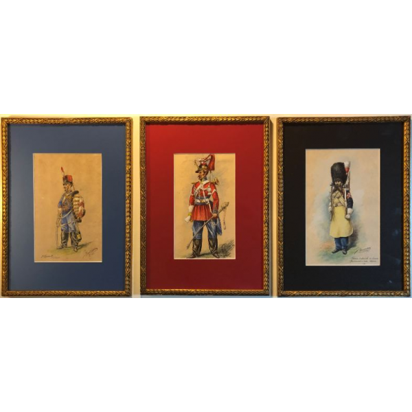 3 Aquarelles militaires du Second Empire G. Bonneterre