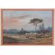 Paysage animé au Soleil couchant - H. Lebas